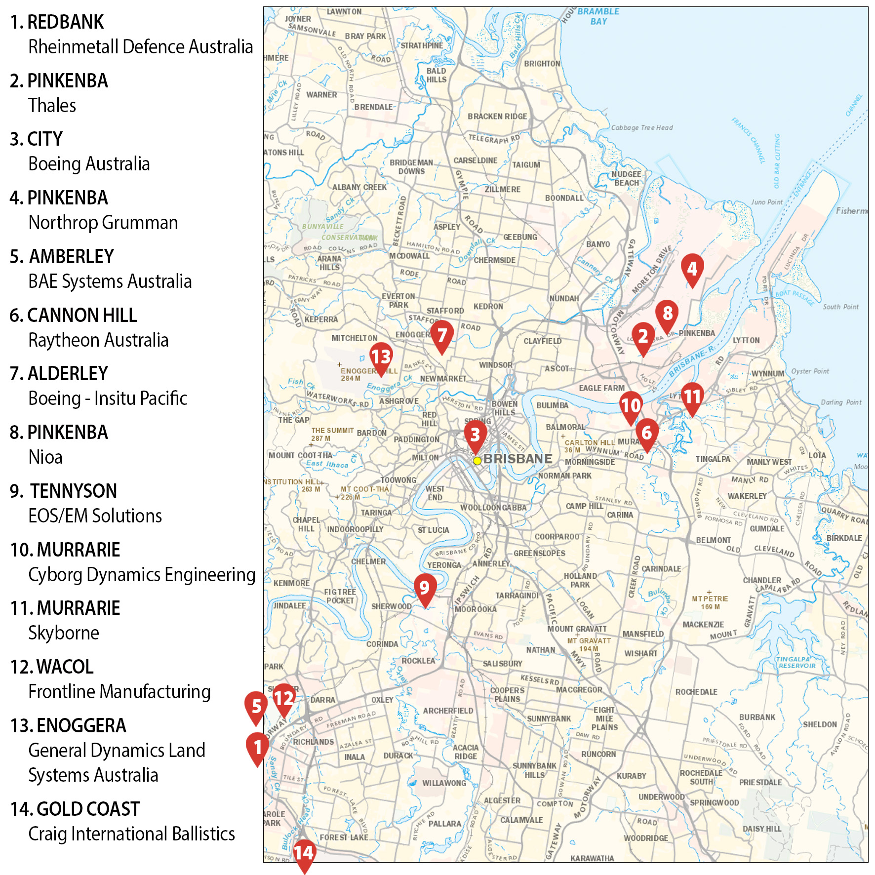 Brisbane map showing weapons companies