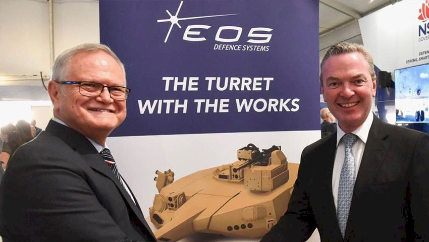 EOS CEO Ben Greene with then defence Minister Christopher Pyne