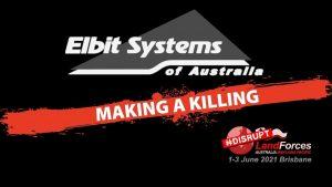 Elbit Australia logo with Making a killing at landforces