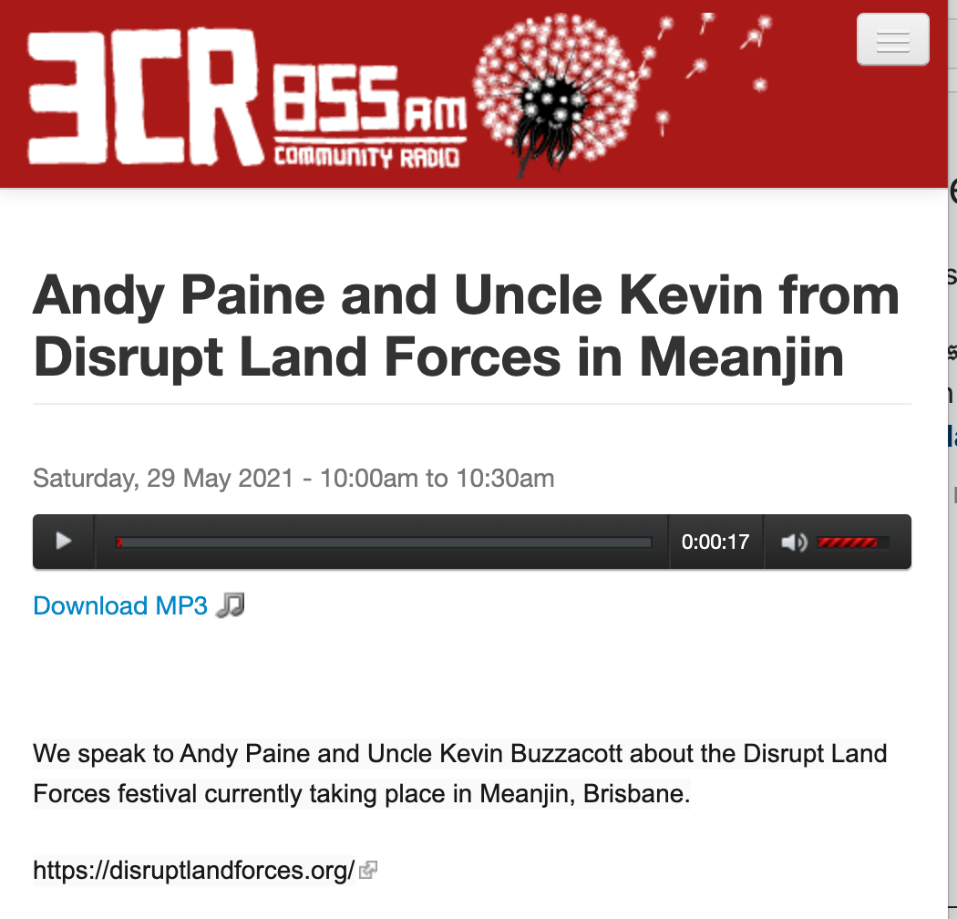 Andy Paine and Uncle Kevin from Disrupt Land Forces in Meanjin