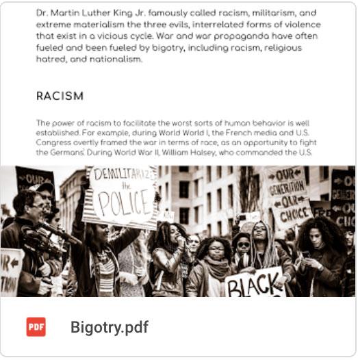 War promotes bigotry