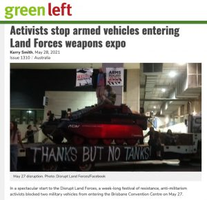 Green left weekly activists stop armed vehicles