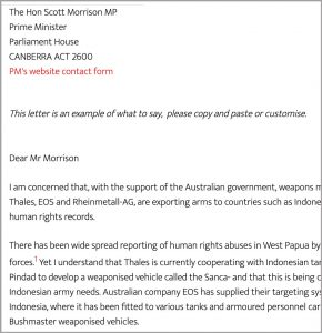 Example Letter to PM